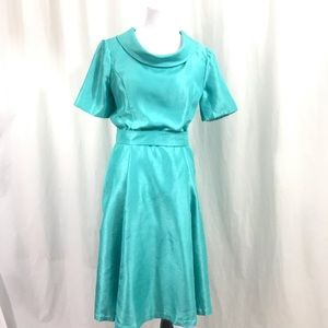 Vintage 1960s Aqua Blue DuPont Silk Dress  M /L